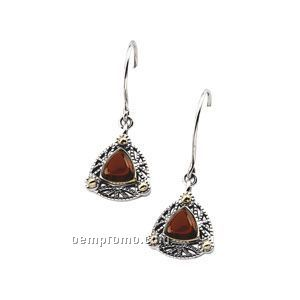 Sterling Silver 14ky Genuine Mozambique Garnet Cabochon Earrings