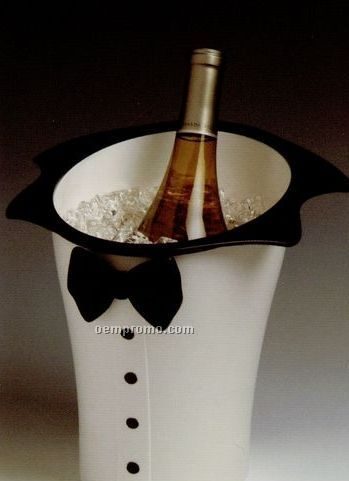 White Tuxedo Wine & Champagne Bucket With Black Accents