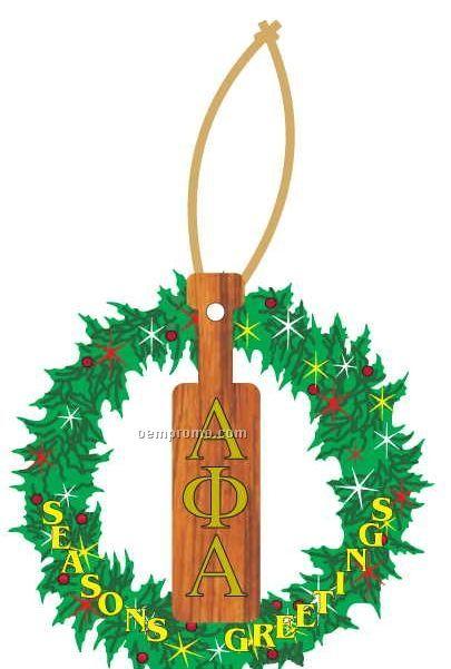 Alpha Phi Alpha Fraternity Paddle Wreath Ornament / Mirror Back(3 Sq. Inch)