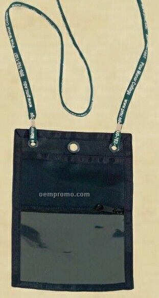 Credential Wallet/Badge Holder With Attached Screen Printed Lanyard