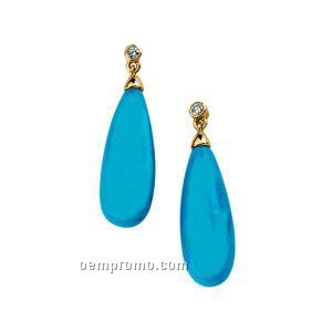 14ky Genuine Turquoise Briolette And .05 Ct Tw Diamond Earrings