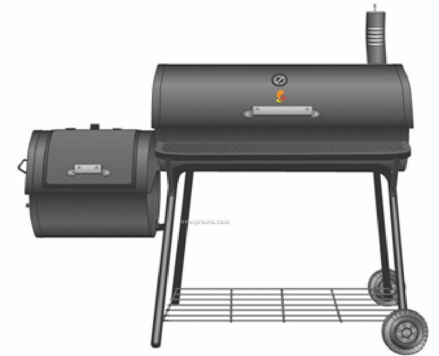 Barrel Style W/Side Fire Box And Chimney Barbecue Grill