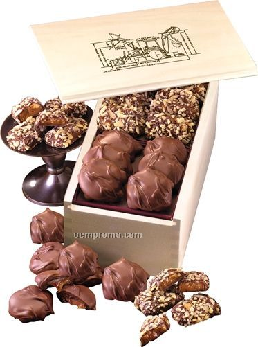 Wooden Collector's Box W/ English Butter Toffee & Pecan Turtles