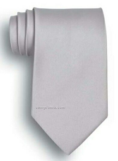 Wolfmark Solid Series Light Gray Polyester Satin Tie