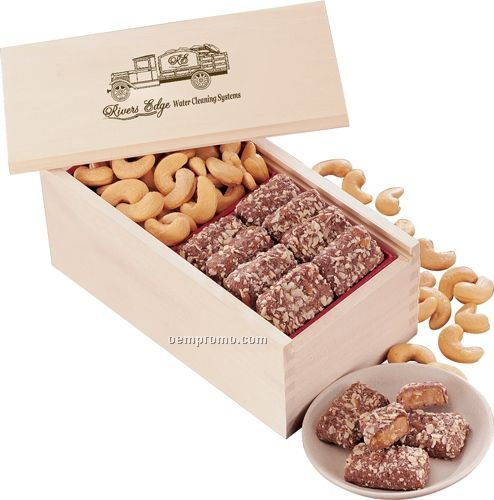 Wooden Collector's Box W/ English Butter Toffee & Jumbo Cashews