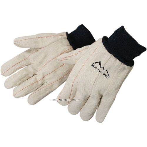 Men's Cotton Corduroy Double Palm Work Gloves In Fluorescent Green