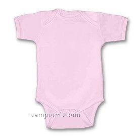 Pink Infant Short Sleeve 1 X 1 Rib Knit Onesie