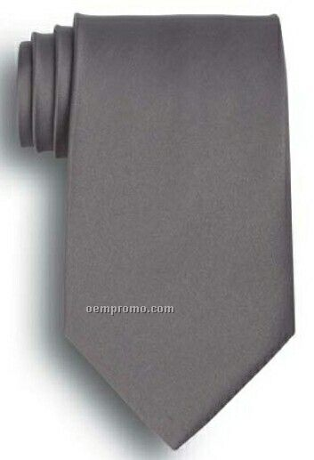 Wolfmark Solid Series Dark Gray Polyester Satin Tie