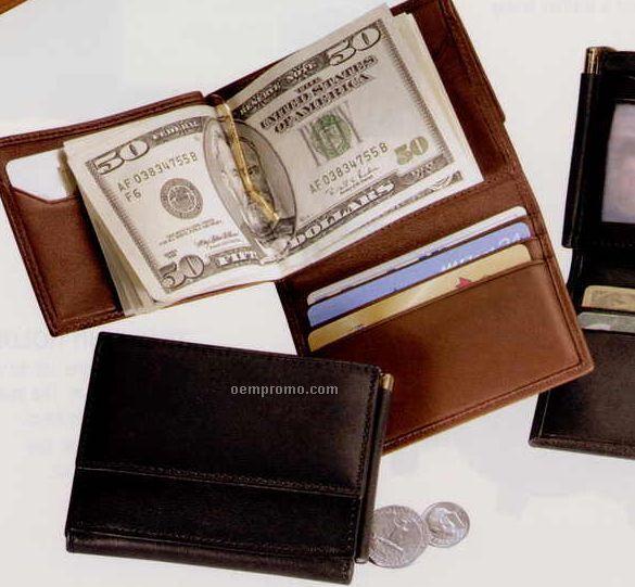 """3-1/4""""X4-1/8""""X3/4"""" Leather Men's Money Clip Wallet"""