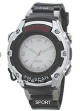 Cititec FM Radio Plastic Quartz Watch (Black)