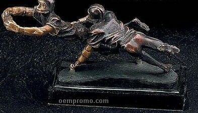 Bronze Football Player Trophy On Marble Base