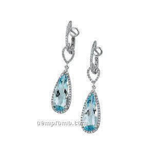 14kw Genuine Sky Blue Topaz And 3/8 Ct Tw Diamond Earrings