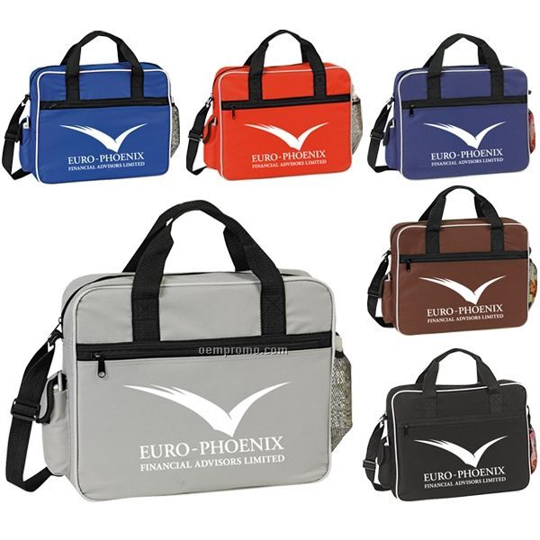 """Ania Polyester Soft Side Briefcase W/ Cell Phone Pocket (15""""X12""""X3 1/2"""")"""