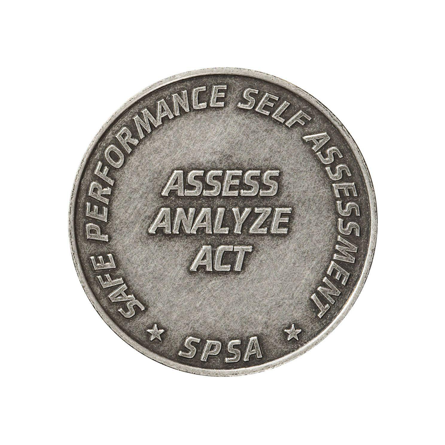"""Antique Silver Coin - Medallion (1-1/8"""")"""