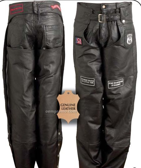 Diamond Plate Hand-sewn Pebble Grain Genuine Leather Motorcycle Chaps (Xl)