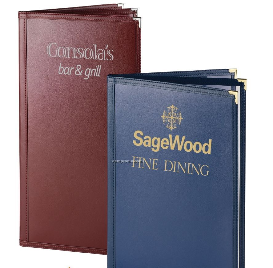 "Leatherette Sewn Pajco Menu Cover - Four View/Book Style (4 1/4""X14"")"