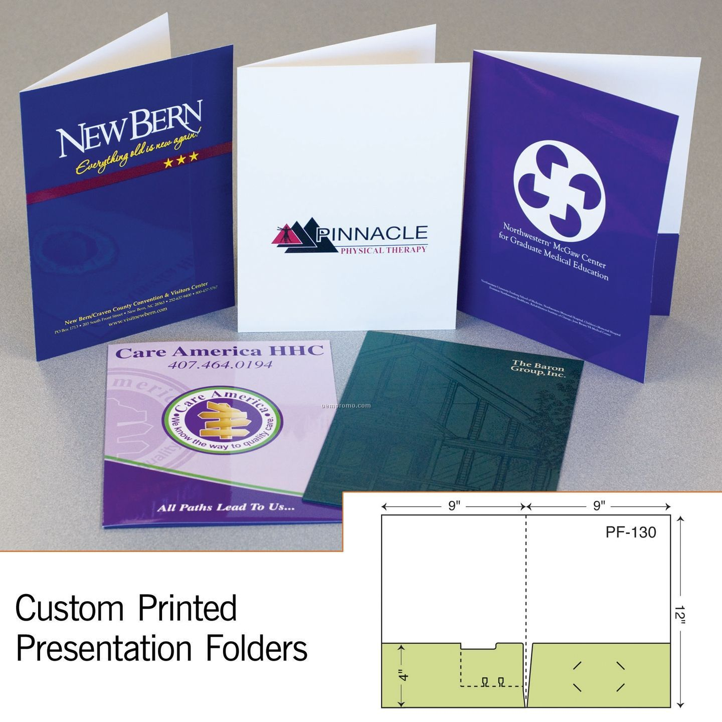 Presentation Folder W/ Perfed Rolodex Card In Left Pocket (1 Color/1 Side)