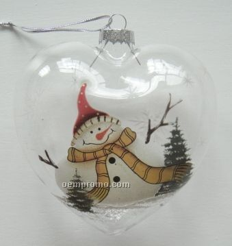 Snowman Heart Clear Glass Ornament