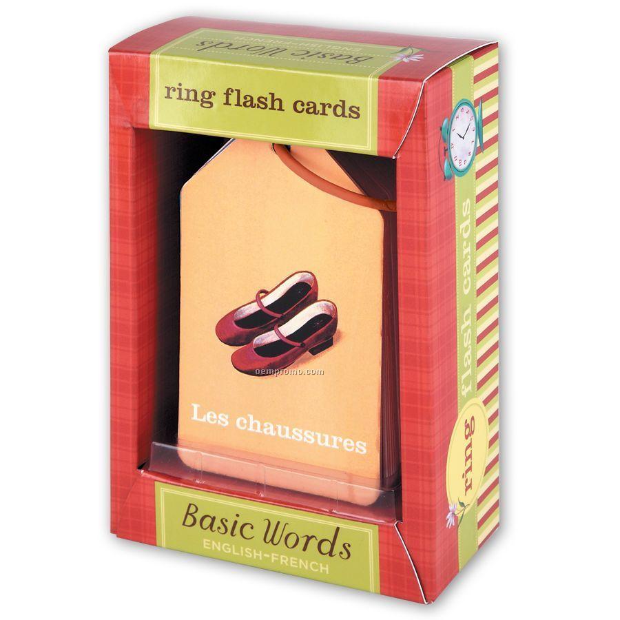 Basic Words French / English Ring Flash Cards