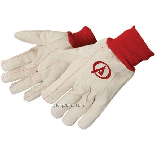 Men's 20 Oz. Double Palm Canvas Gloves With Red Wrist