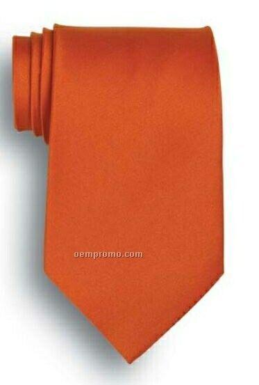 Wolfmark Solid Series Orange Polyester Satin Tie