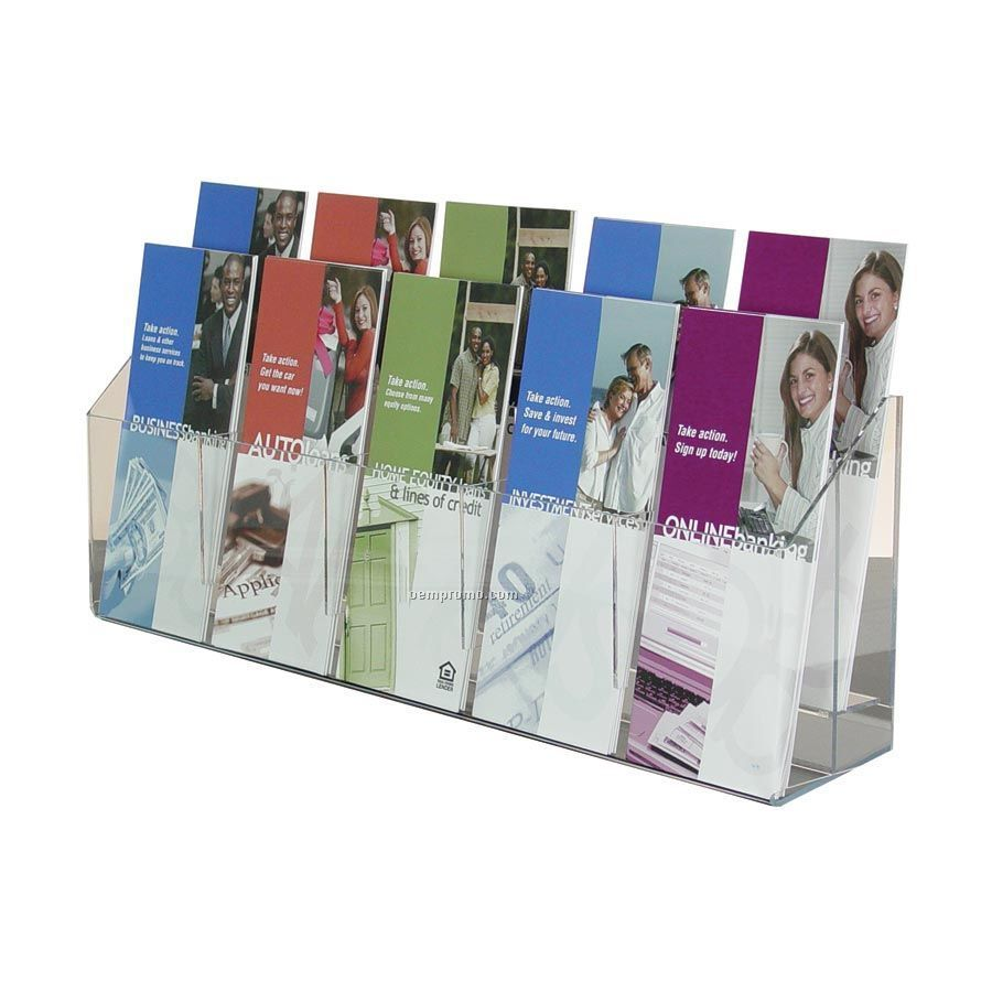 10-pocket Clear Acrylic Brochure Holder - Wall