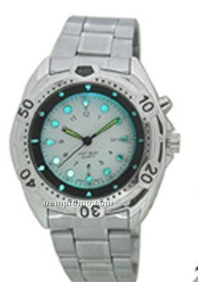 Cititec Large LED Metal Quartz Watch (Silver)