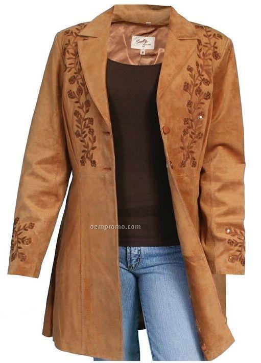 Ladies Boar Suede Leather Jacket S-xx-l