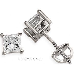 14kw 1 Ct Tw Princess Diamond Stud Earrings