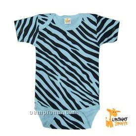 Infant Short Sleeve Cotton Onesie (Blue Zebra Print)