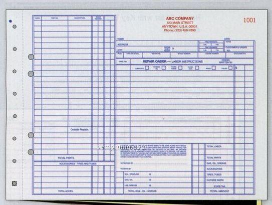 "3 Part Auto Repair Order Form W/ Carbons (11""X8 1/2"")"