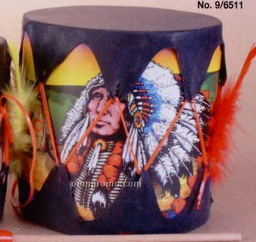 "6""X7"" Printed Tom Tom Drum W/ Feather Trim"