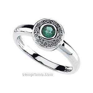 Ladies' 14kw 4mm Genuine Emerald & .06 Ct Tw Diamond Round Ring