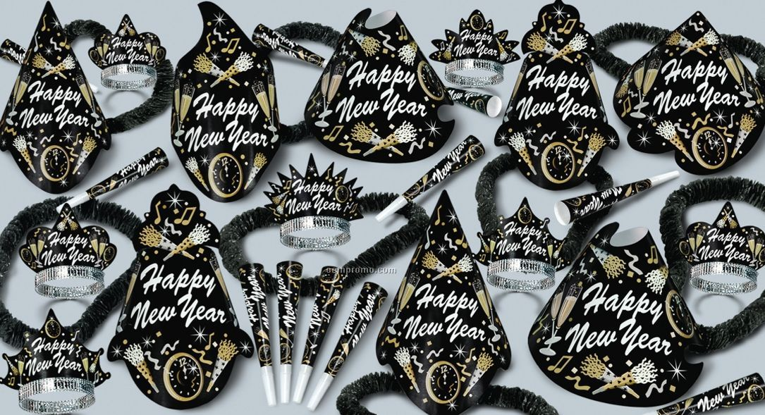New Year Tymes Decoration Kit With Noise Makers For 25 People