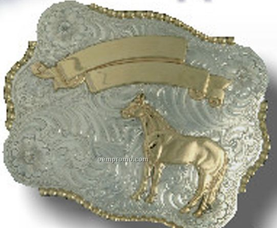 Rectangular Custom Trophy Buckle W/ Gold Bead Trim