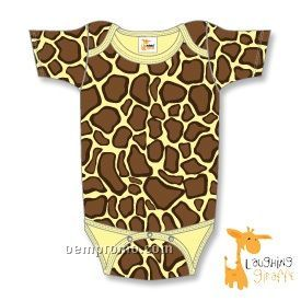 Infant Short Sleeve Cotton Onesie (Giraffe Print)