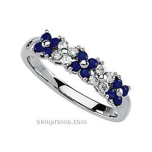 Ladies' 14kw 1-4/5mm Genuine Sapphire & 1/5 Ct Tw Diamond Round Ring