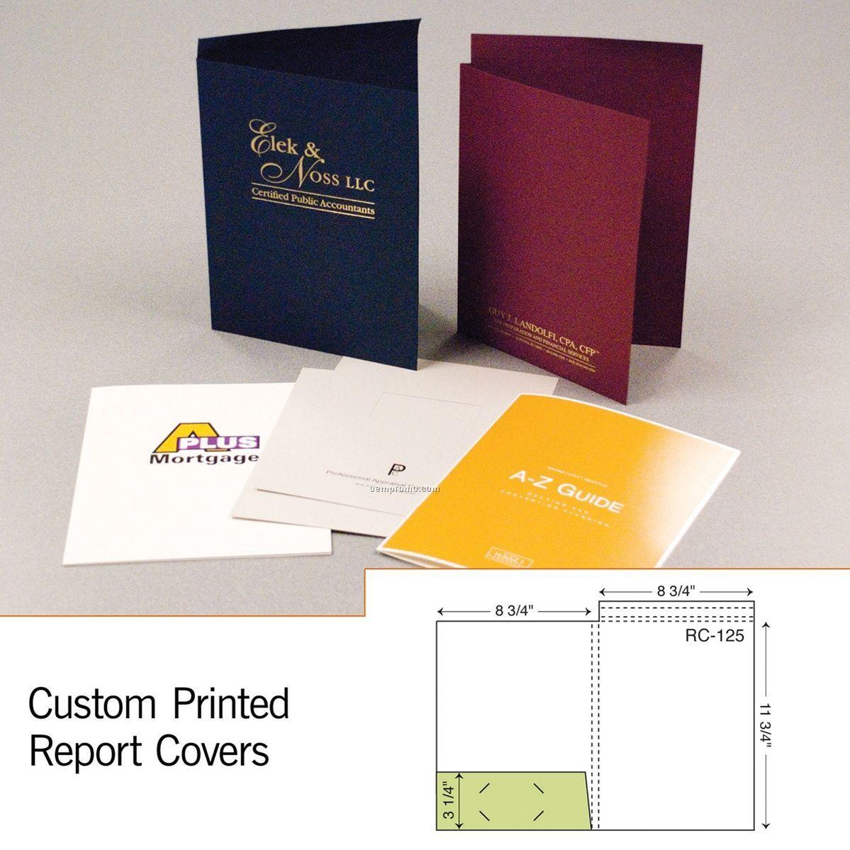 "1 Part Report Cover W/ Pocket & 3/8"" Spine (1 Color/1 Side)"