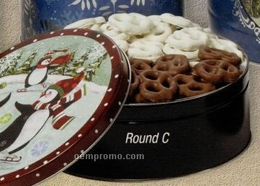 18 Oz. Round Designer Chocolate/ Yogurt Pretzel Combination Tin