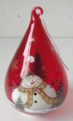Snowman Tear-drop Red Glass Ornament