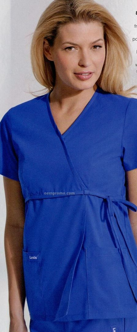 Women's 100% Cotton Empire Waist Overlap Tunic Scrub Top