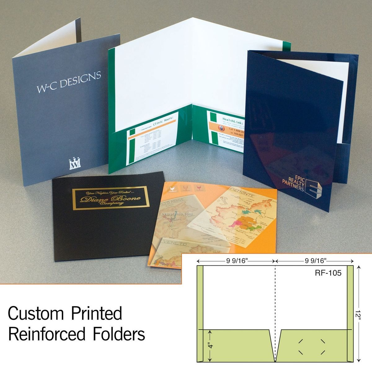 Reinforced Folder W/ Single Score Spine & 2 Reinforced Pocket (1 Color)
