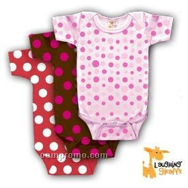 Infant Short Sleeve Cotton Onesie (Polka Dots)