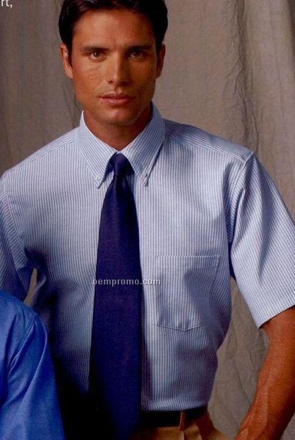 Light Blue Men's Short Sleeve Executive Button Down Shirt