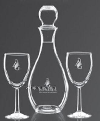 Nordic Decanter W/2 Stemware Wine Glasses
