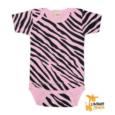 Infant Short Sleeve Cotton Onesie (Pink Zebra Print)