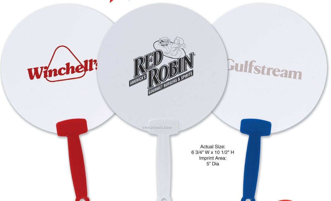 Round Plastic Fans With Color Handle