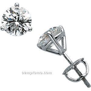 14kw 1 1/2 Ct Tw Martini Style Diamond Stud Earrings
