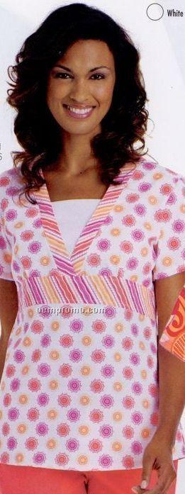 Banded Women's Empire Waist Print Combo Tunic Scrub Top