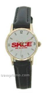 Cititec Ladies Analog Quartz Watch (Black, White Face & Gold Ring)